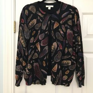 Liz Claiborne 2X cardigan black fall feathers